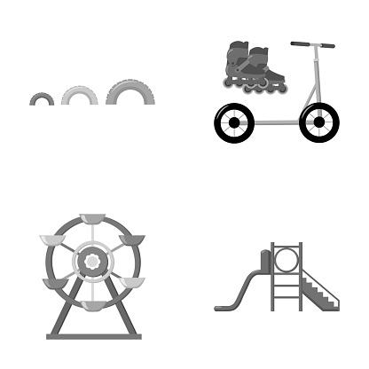 Pariserhjul Med Stege Skoter Lekplats Som Samling Ikoner I Svartvit Stil Vektor Symbol Stock Illustration Web-vektorgrafik och fler bilder på Barndom