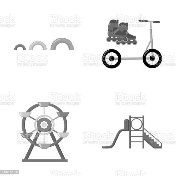 Ruota Panoramica Con Scala Scooter Icone Di Raccolta Set Di Parchi Giochi In Stile Monocromatico Simbolo Vettoriale Illustrazione Web - Immagini vettoriali stock e altre immagini di Attrezzatura