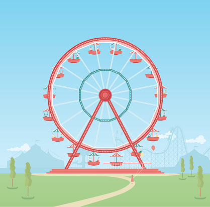 A retro style illustration of a ferris wheel in an amusement park. This is an editable EPS 10 vector illustration with CMYK color space.
