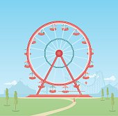 Ferris wheel with riders and blue sky behind