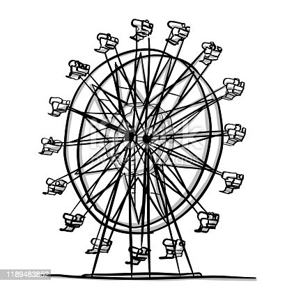 ferris wheel ride at the fair in sketch vector illustration