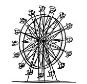 ferris wheel ride at the fair in sketch vector illustration
