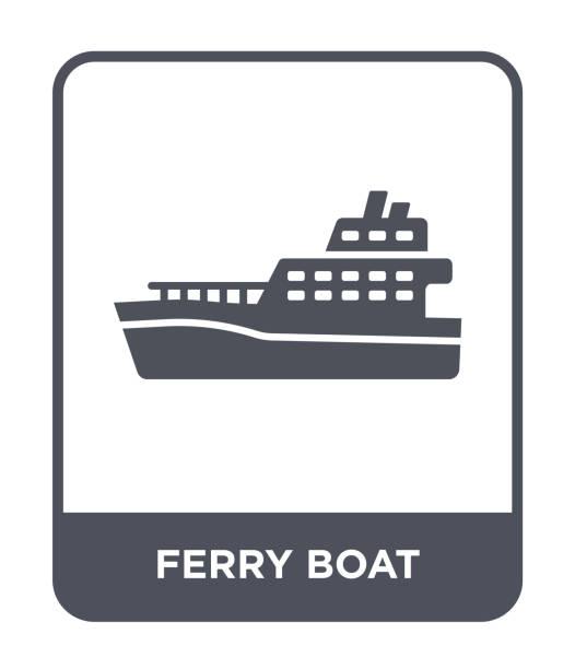 stockillustraties, clipart, cartoons en iconen met ferry boot pictogram vector op witte achtergrond, veerboot trendy gevuld pictogrammen uit vervoer collectie - veerboot