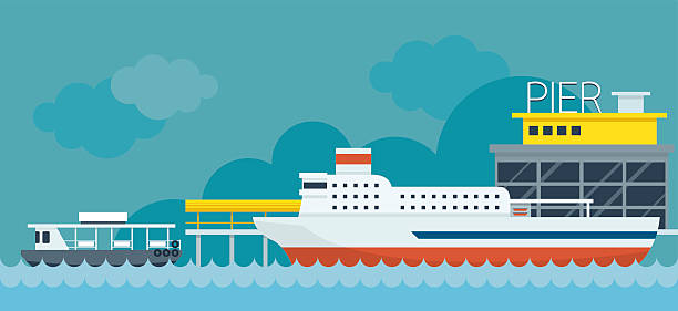 ilustrações de stock, clip art, desenhos animados e ícones de peação em ferry-boat cais ilustração plana design ícones de objectos - ferry
