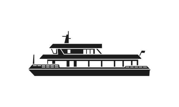 stockillustraties, clipart, cartoons en iconen met ferry boot silhouet - veerboot