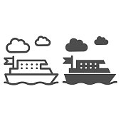Ferry line and solid icon, Public transport concept, ferry ship transportation sign on white background, Boat on the sea icon in outline style for mobile concept and web design. Vector graphics