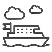 Ferry line icon, Public transport concept, ferry ship transportation sign on white background, Boat on the sea icon in outline style for mobile concept and web design. Vector graphics