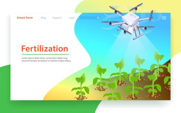 düngung in smart farm. landeseite vorlage - aerial overview soil stock-grafiken, -clipart, -cartoons und -symbole