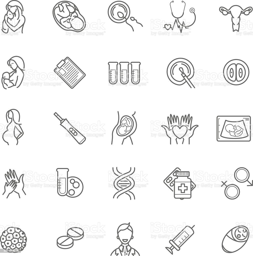 fertilization, pregnancy and motherhood vector icon set. Gynecol vector art illustration
