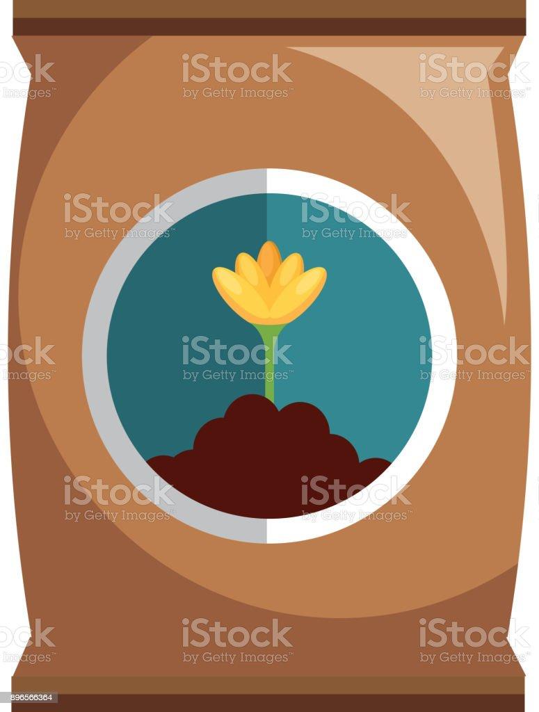 fertilizer bag isolated icon vector art illustration