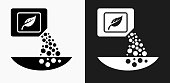 Fertilizer Icon on Black and White Vector Backgrounds