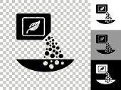 istock Fertilizer Icon on Checkerboard Transparent Background 1256245680