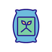 fertilizer in a bag icon vector. fertilizer in a bag sign. color isolated symbol illustration