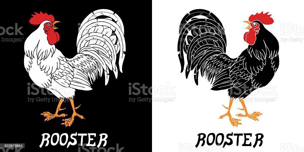 Искренне черно-белый петухи векторная иллюстрация