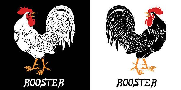 Bекторная иллюстрация Искренне черно-белый петухи