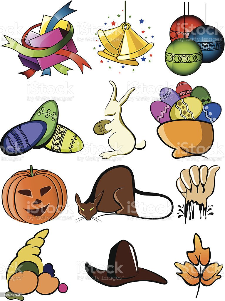 Fest Icons vector art illustration