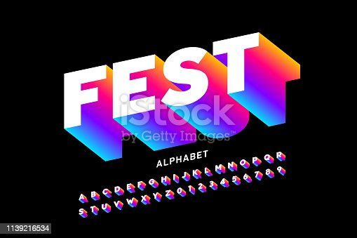 Fest style bright font design, alphabet letters and numbers vector illustration
