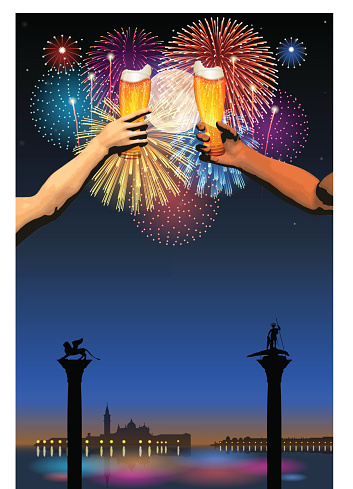 Festa del Redentore[Fireworks and full moon and beer]