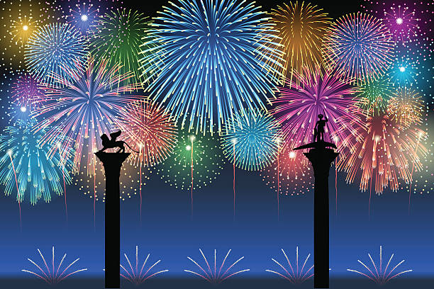 festa del redentore[fireworks] - happy holidays stock illustrations