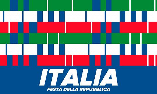 Festa della Repubblica Italiana. Text in italian: Italian Republic Day. Happy national holiday. Celebrated annually on June 2 in Italia. Italy flag. Patriotic design. Vector poster