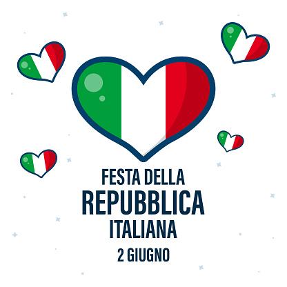 """Festa della Repubblica Italiana Translation:""""June 2. Italian Republic Day"""". Card design with Italian flag and colors."""