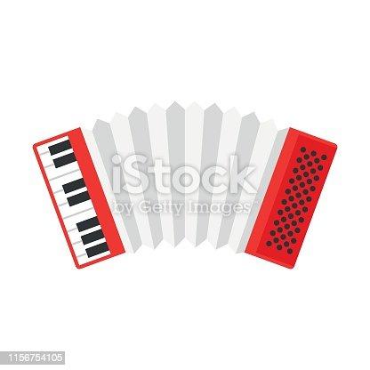 festa junina, accordion, in flat, design, musicals, instrument, with white, background, illustration,