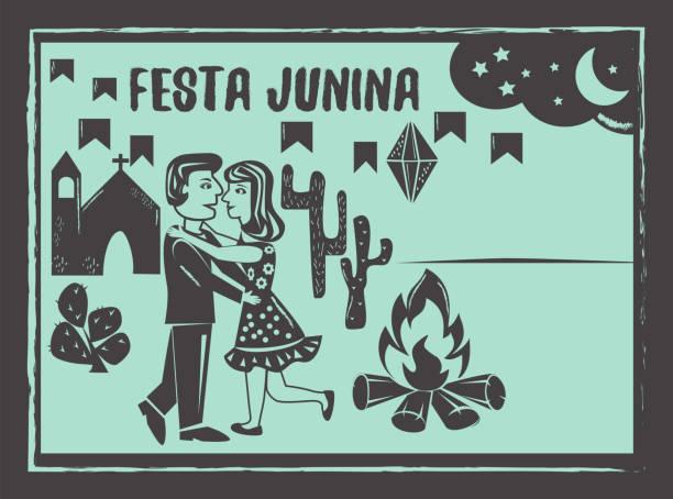 stockillustraties, clipart, cartoons en iconen met festa junina achtergrond vector. schattige paar dansen. - houtgravure