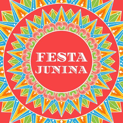 Festa Junina background vector. Festival banner for Brazilian holiday party. Festa de Sao Joao illustration. Carnival colorful summer pattern design.