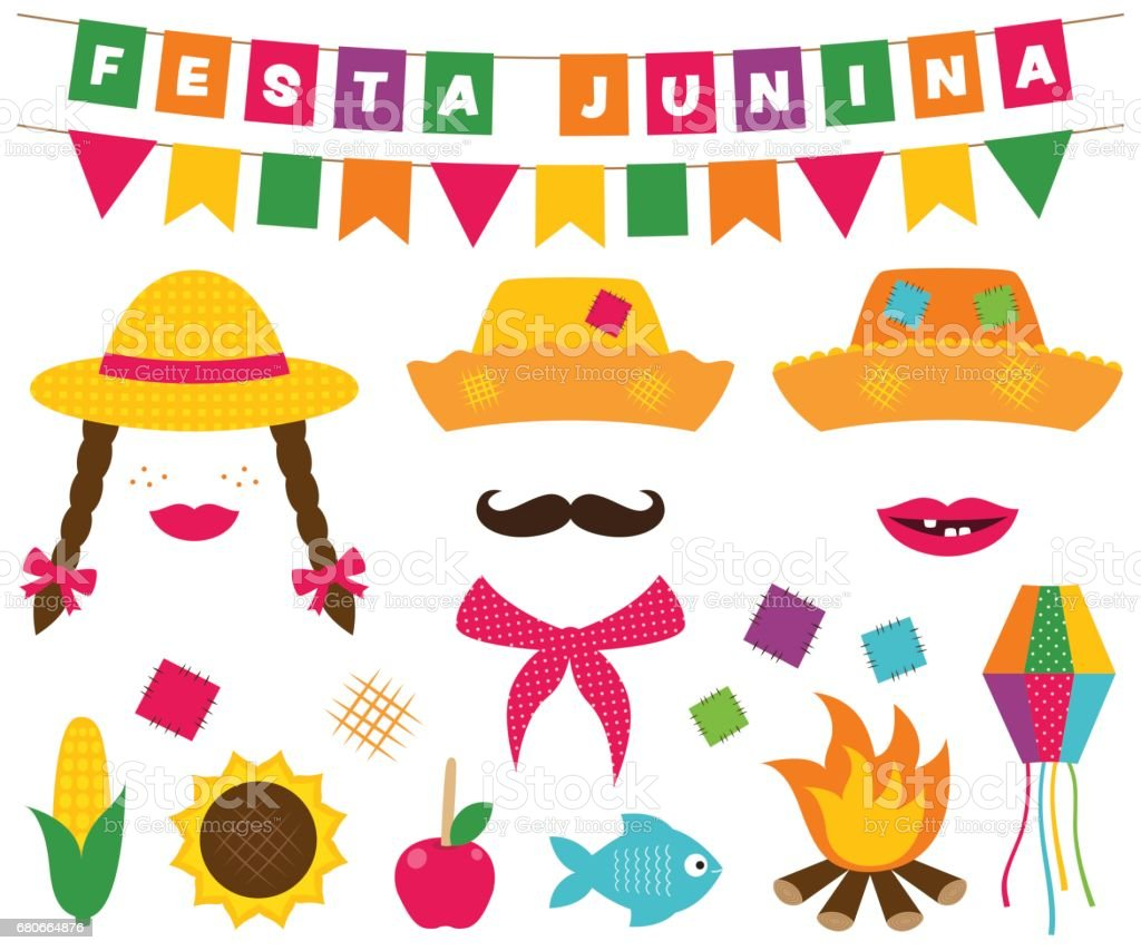 Festa Junina banners and photo booth props vector art illustration