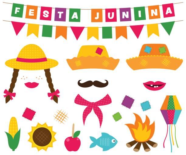 festa junina banner und photo booth requisiten - kaminverkleidungen stock-grafiken, -clipart, -cartoons und -symbole
