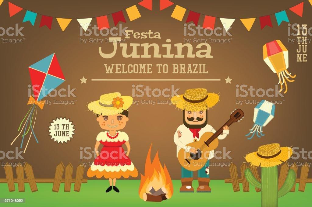 Festa Junina - Brazil Festival vector art illustration