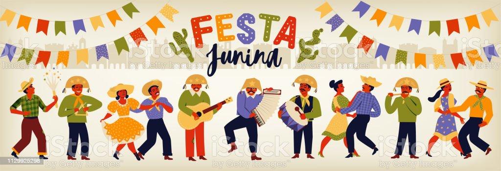 Festa Junina Brasil junio Festival. Plantillas vectoriales. Elemento de diseño para la tarjeta, la bandera y otro uso. - ilustración de arte vectorial