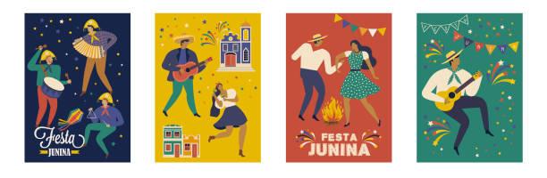 bildbanksillustrationer, clip art samt tecknat material och ikoner med festa junina brasilien juni festival. vektor-mallar. - latino music