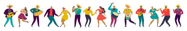 festa junina brazil party people in traditional clothes musicians and dancers characters. - muzyk stock illustrations