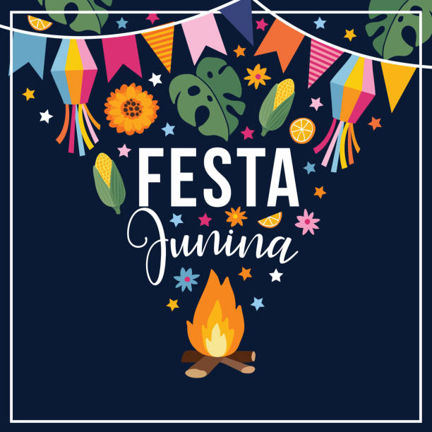 Festa junina, Brazilian june party. Greeting card, invitation. Latin American holiday. Vector illustration background with garland of bunting flags, fire, stars, corn, monstera leaves and sunflowers. Flat design. vector art illustration