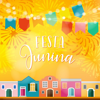 Festa Junina Brazilian June Party Latin American Holiday Vector Illustration Background With Garland Of Flags Colorful Houses And Fireworks Stock Illustration - Download Image Now