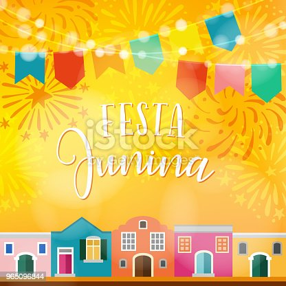 Festa Junina Brazilian June Party Latin American Holiday Vector Illustration Background With Garland Of Flags Colorful Houses And Fireworks - Stockowe grafiki wektorowe i więcej obrazów Bankiet 965096844
