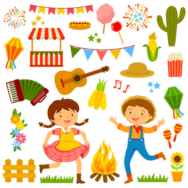 stockillustraties, clipart, cartoons en iconen met festa junina cartoons set - juni