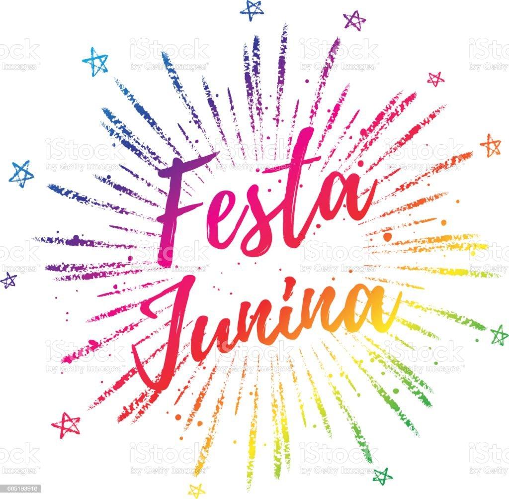 Festa Junina bunten Farbverlauf Sommer kalligraphische Plakat, Illustration. Vektor Feuerwerk Carnaval Hintergrund mit Sternen. – Vektorgrafik