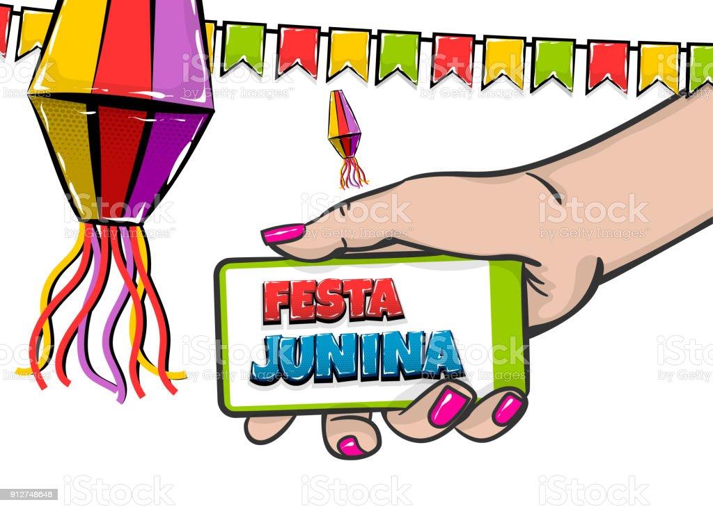 Ilustración De Festa Junina Texto Cómico Espera Smatrphone Y