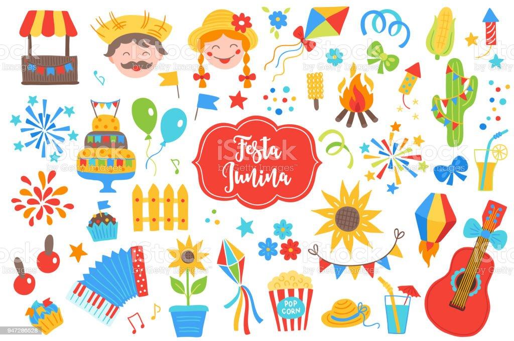 Festa Junina Designelemente Feuerwerk Ballon Kuchen Flagge
