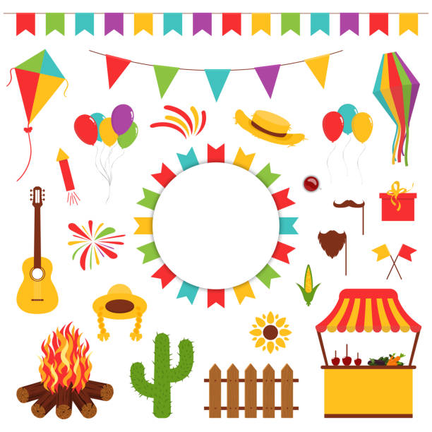 Festa Junina festival decorative elements. Carnival flags with lantern, firework and flying kite Festa Junina festival decorative elements. Carnival flags with lantern, firework and flying kite, cactus, guitar and straw hat. Carnival banner for decoration. Vector agricultural fair stock illustrations