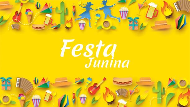 stockillustraties, clipart, cartoons en iconen met festa junina festival ontwerp op papier kunst en platte stijl met partij vlaggen en papieren lantaarn, kan gebruiken voor wenskaart, uitnodiging of vakantie poster. -vector - indonesische cultuur