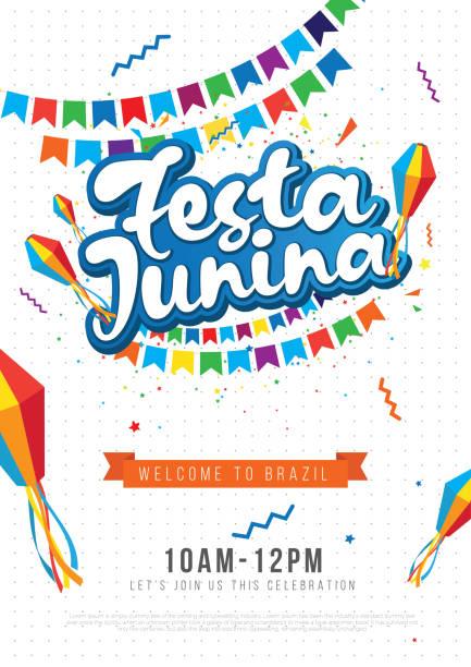 illustrazioni stock, clip art, cartoni animati e icone di tendenza di festa junina festival poster design background template - tavola imbandita