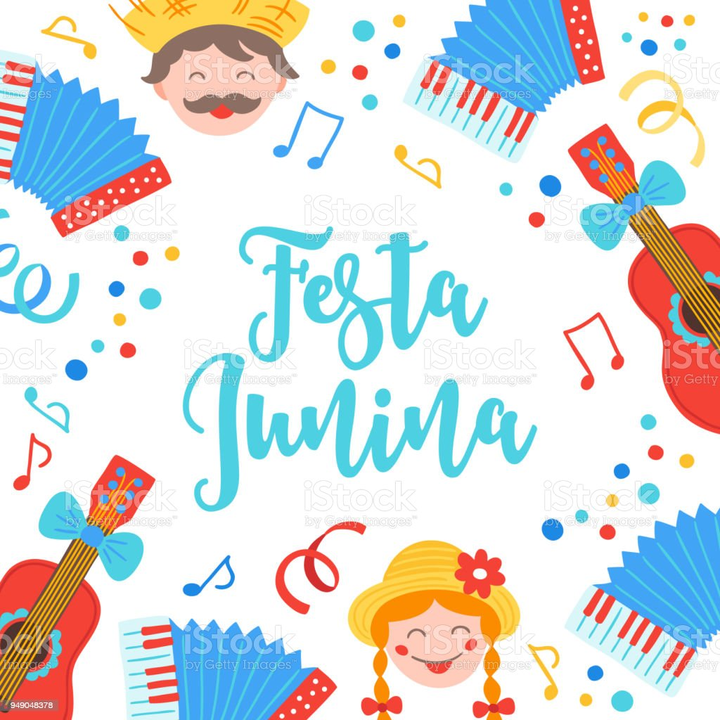 Festa Junina Greeting Card With Guitar Accordion Notes Confetti