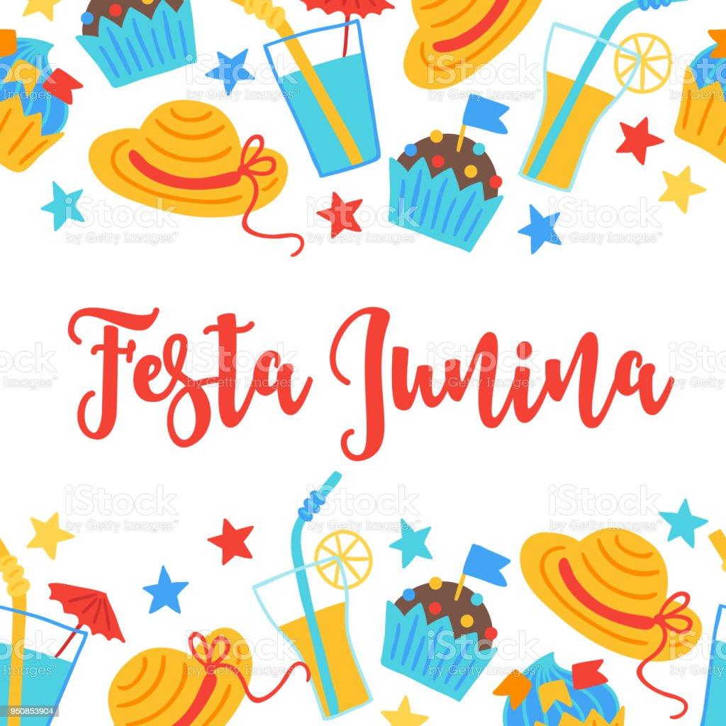 Ilustración de Festa Junina Tarjeta De Felicitación Con La Frontera ...