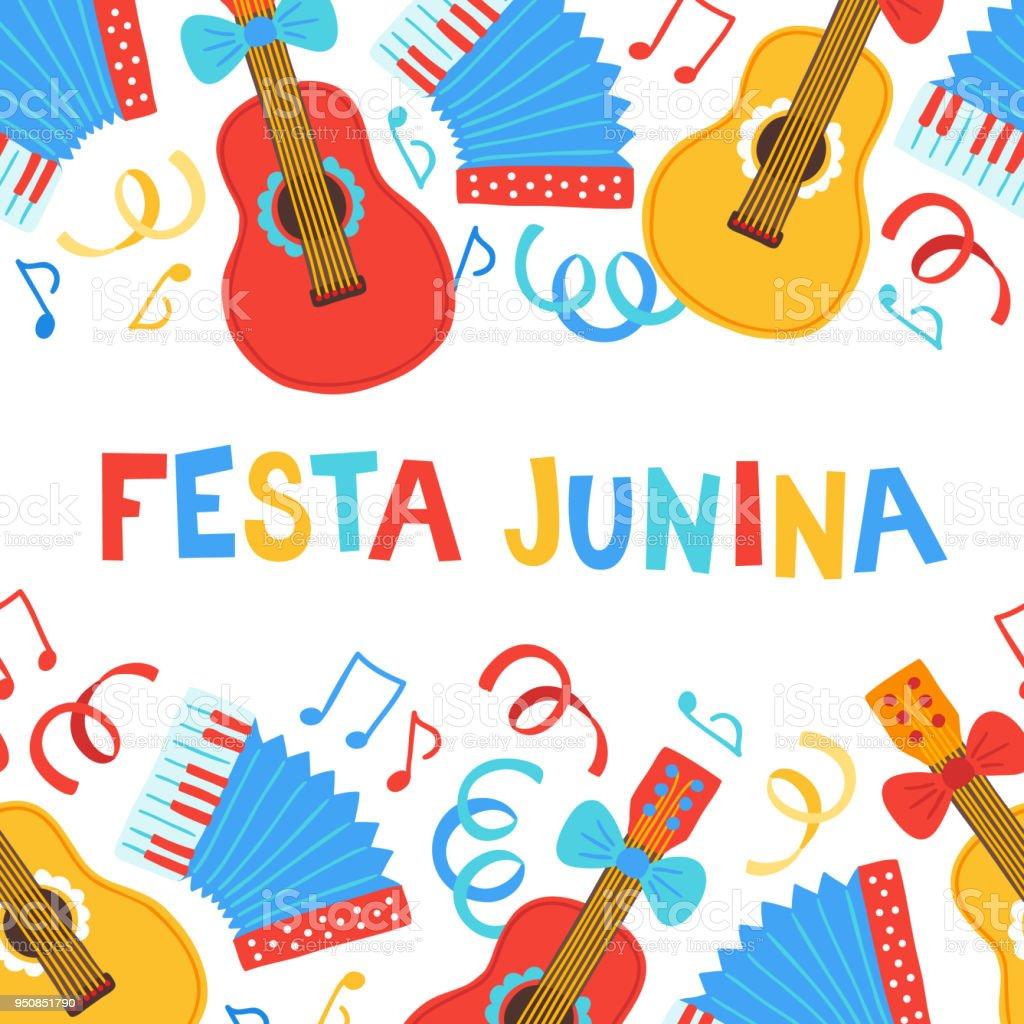 Festa junina greeting card with seamless border guitar accordion festa junina greeting card with seamless border guitar accordion ribbon royalty free m4hsunfo