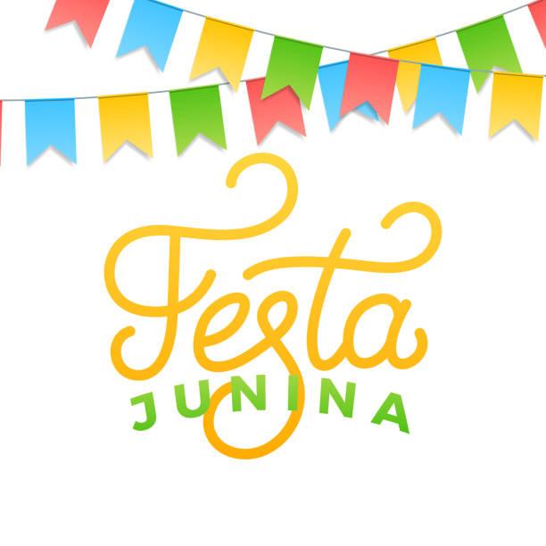 Festa Junina. Design de cartão para de festa brasileira junho de férias Sao Joao. Buntings letras e coloridos - ilustração de arte em vetor