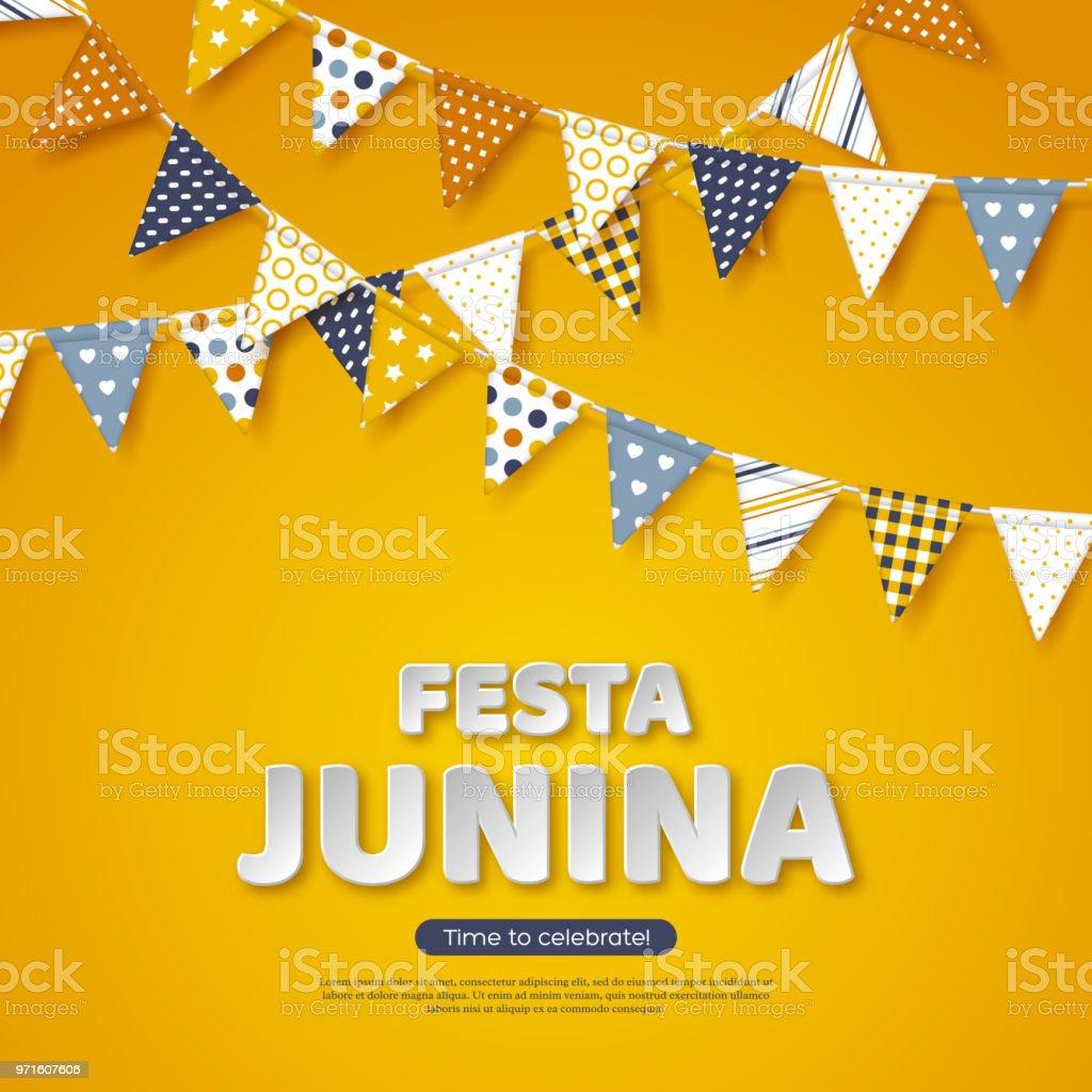 Festa junina holiday design paper cut style letters with bunting festa junina holiday design paper cut style letters with bunting flag on yellow background maxwellsz