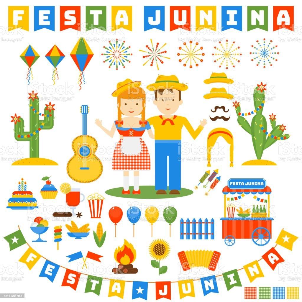 festa junina conjunto de ícones - Vetor de Abstrato royalty-free